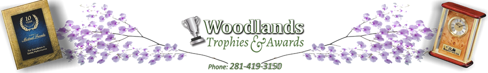 Woodlands Trophies & Awards   --    shop@WoodlandsTrophies.com - acrylic awards, crystal awards, cup trophies, perpetual plaques, baseball trophies, football trophies, soccer trophies, corporate plaques, recognition plaques, glass awards, gifts, clocks, corporate awards, conroe, tx, texas
